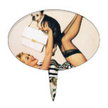 Puppy Lover Pin-up Girl - Retro Pinup Art Cake Toppers