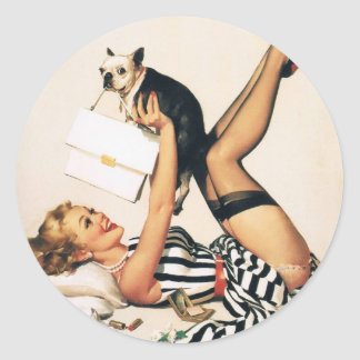 Puppy Lover Pin-up Girl - Retro Pinup Art Classic Round Sticker