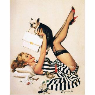 Puppy Lover Pin-up Girl - Retro Pinup Art Cutout