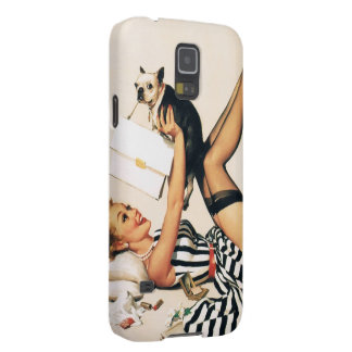 Puppy Lover Pin-up Girl - Retro Pinup Art Galaxy S5 Case