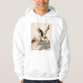 Puppy Lover Pin-up Girl - Retro Pinup Art Hooded Sweatshirt