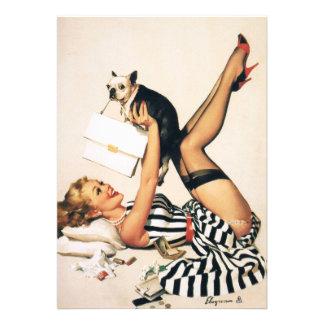Puppy Lover Pin-up Girl - Retro Pinup Art Custom Invite