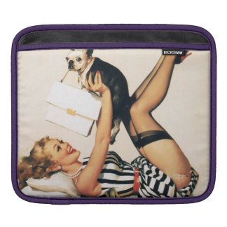 Puppy Lover Pin-up Girl - Retro Pinup Art iPad Sleeve