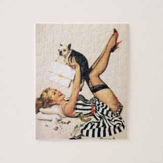 Puppy Lover Pin-up Girl - Retro Pinup Art Jigsaw Puzzle