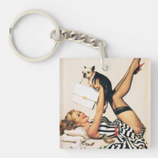 Puppy Lover Pin-up Girl - Retro Pinup Art Keychain
