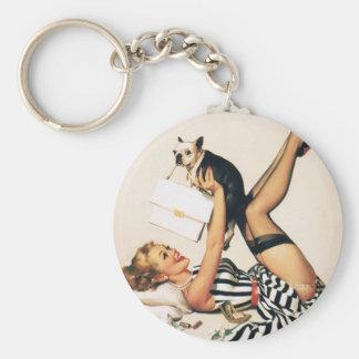 Puppy Lover Pin-up Girl - Retro Pinup Art Basic Round Button Keychain
