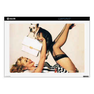 Puppy Lover Pin-up Girl - Retro Pinup Art Laptop Decals