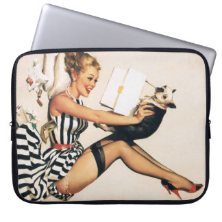 Puppy Lover Pin-up Girl - Retro Pinup Art Computer Sleeves