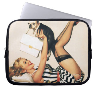 Puppy Lover Pin-up Girl - Retro Pinup Art Laptop Sleeves