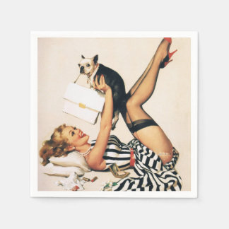 Puppy Lover Pin-up Girl - Retro Pinup Art Napkin