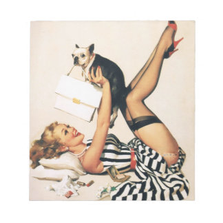 Puppy Lover Pin-up Girl - Retro Pinup Art Notepad