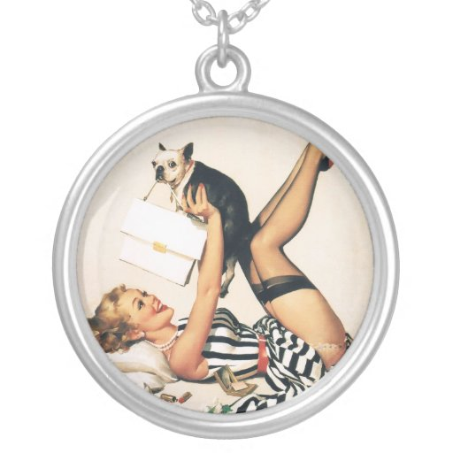 Puppy Lover Pin-up Girl - Retro Pinup Art Pendants