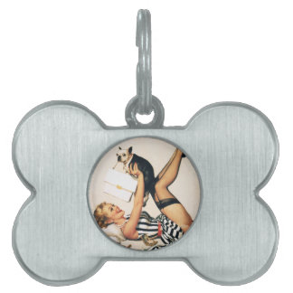 Puppy Lover Pin-up Girl - Retro Pinup Art Pet ID Tags