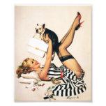 Puppy Lover Pin-up Girl - Retro Pinup Art Photo Print