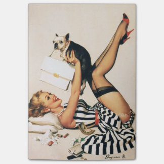 Puppy Lover Pin-up Girl - Retro Pinup Art Post-it® Notes