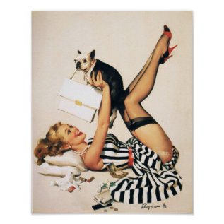 Puppy Lover Pin-up Girl - Retro Pinup Art Poster at Zazzle