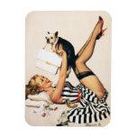 Puppy Lover Pin-up Girl - Retro Pinup Art Rectangular Photo Magnet