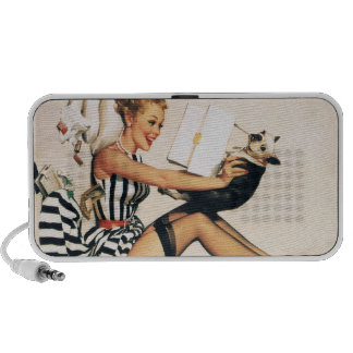 Puppy Lover Pin-up Girl - Retro Pinup Art iPhone Speakers