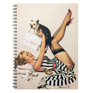 Puppy Lover Pin-up Girl - Retro Pinup Art Spiral Notebook