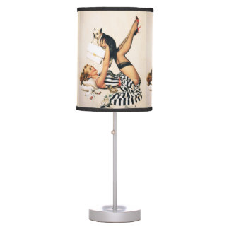 Puppy Lover Pin-up Girl - Retro Pinup Art Table Lamp