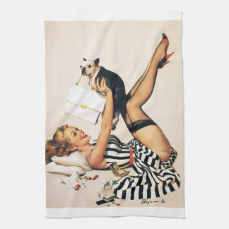 Puppy Lover Pin-up Girl - Retro Pinup Art Towels