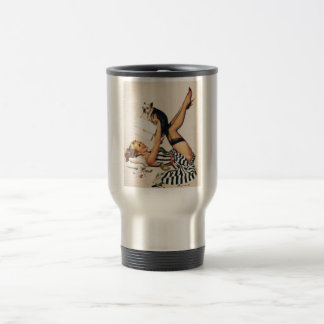 Puppy Lover Pin-up Girl - Retro Pinup Art Travel Mug
