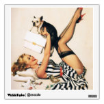 Puppy Lover Pin-up Girl - Retro Pinup Art Wall Decal