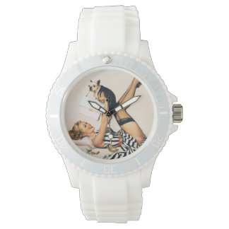 Puppy Lover Pin-up Girl - Retro Pinup Art Watch