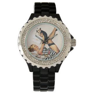 Puppy Lover Pin-up Girl - Retro Pinup Art Wrist Watch
