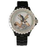 Puppy Lover Pin-up Girl - Retro Pinup Art Wristwatch