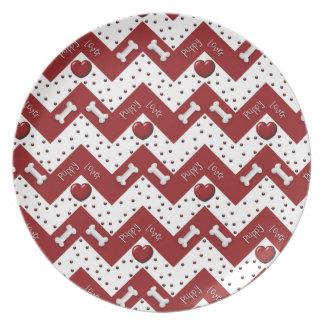 Puppy Lover RED CHEVRON Plate