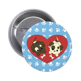 Puppy Loves 2 Inch Round Button