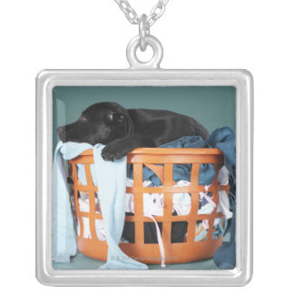Puppy lying in laundry basket silver plated necklace