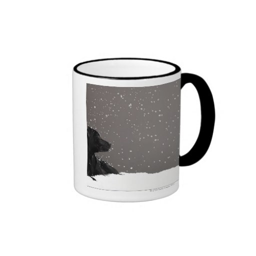 Puppy lying in snow watching snowflakes mugs