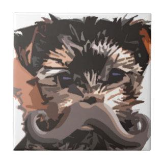 Puppy Mustache Tile