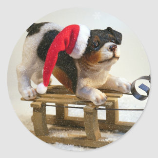 Puppy on a Sled Classic Round Sticker