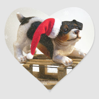 Puppy on a Sled Heart Sticker