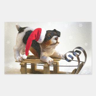 Puppy on a Sled Rectangular Sticker
