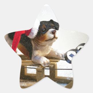 Puppy on a Sled Star Sticker