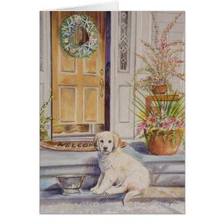 Puppy on Porch Card