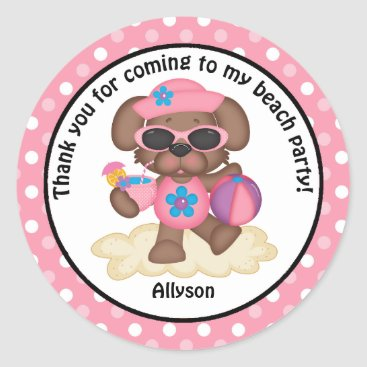 Beach Themed Puppy on the Beach Party Thank You Classic Round Sticker