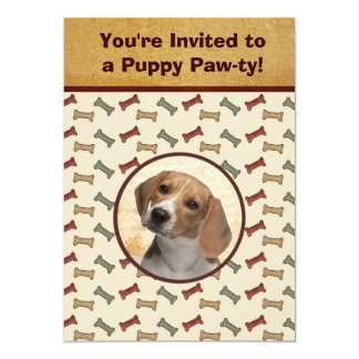 Puppy Party Dog Event Custom Pet Photo 5x7 Paper Invitation Card