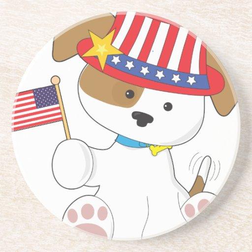 Puppy Patriotic Beverage Coaster