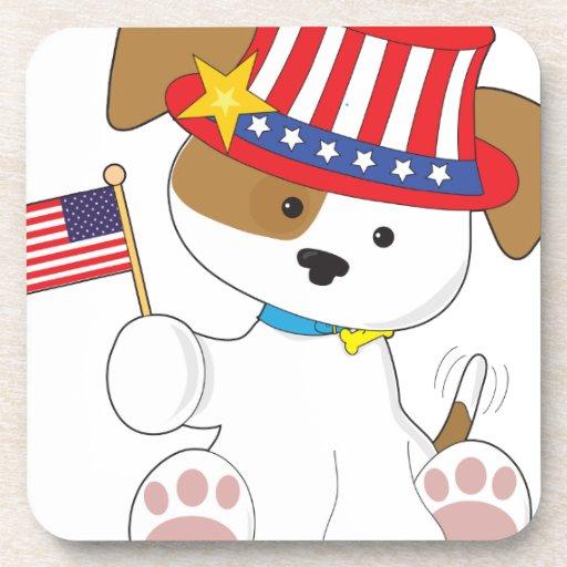 Puppy Patriotic Drink Coaster
