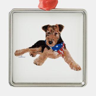 Puppy Patriotic Neckerchief Metal Ornament