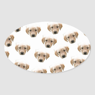 puppy pattern oval sticker