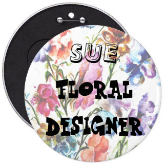 PUPPY PAW PRINTS | FLORAL ID BUTTOM PINBACK BUTTON