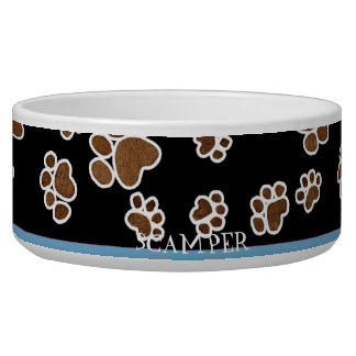 Puppy Paw Prints or Large Dog Food Feeding Dish Pet Bowl