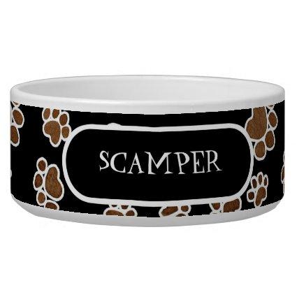 Puppy Paw Prints or Large Dog Food Feeding Dish Dog Food Bowl