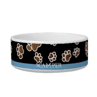 Puppy Paw Prints or Small Dog Food Feeding Dish Cat Bowl